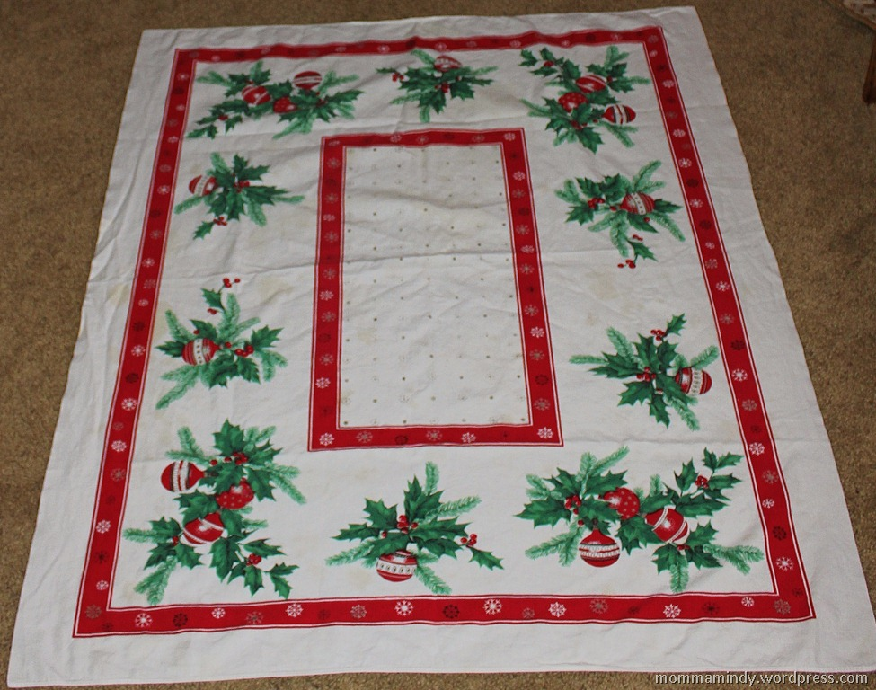 repurposed vintage christmas tablecloth mindy peltier
