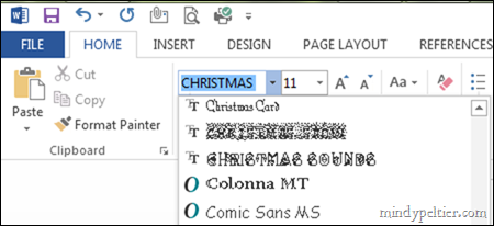 Christmas Fonts in Word