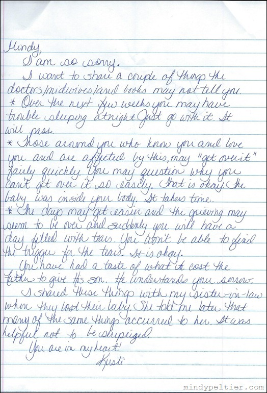 Kirsti's Letter about Miscarriage