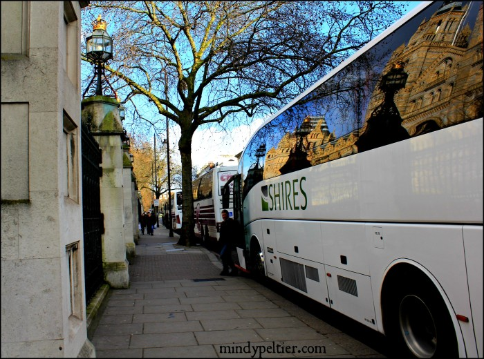 Natural History Museum in London Reflected in Bus. Photo by @MindyJPeltier