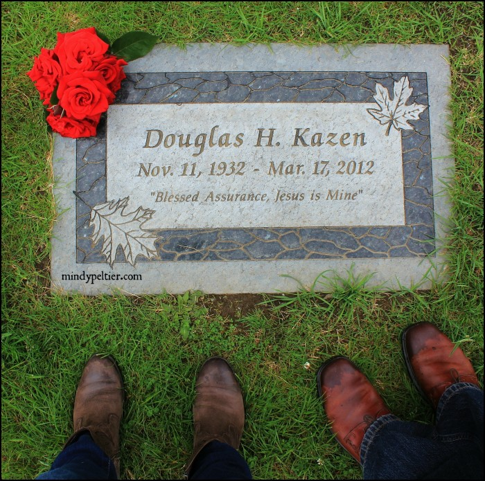 Our Feet at Doug Kazen's grave