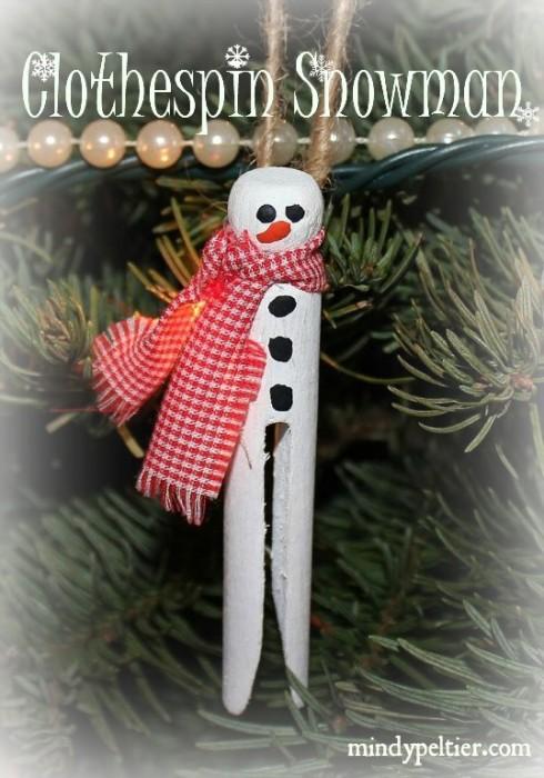 Clothespin Snowman @MindyJPeltier